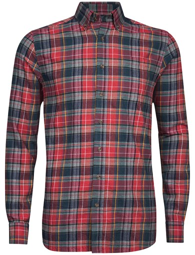 Rød - Basic Melange Check Shirt