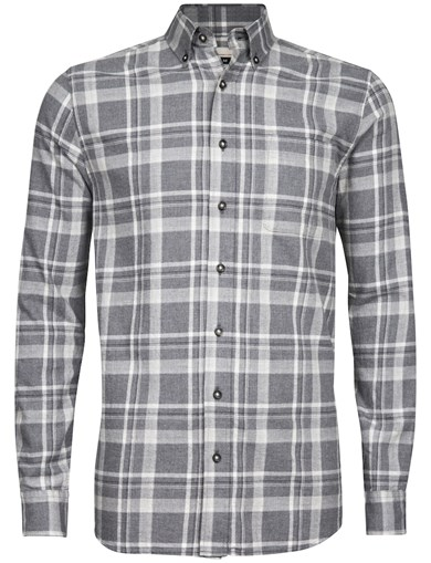 Grå - Basic Melange Check Shirt