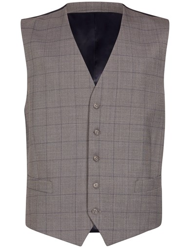 Wool Stretch Grey Check Waist