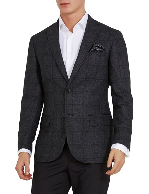 BLAZER WOOL BLEND D.GREY CHECK